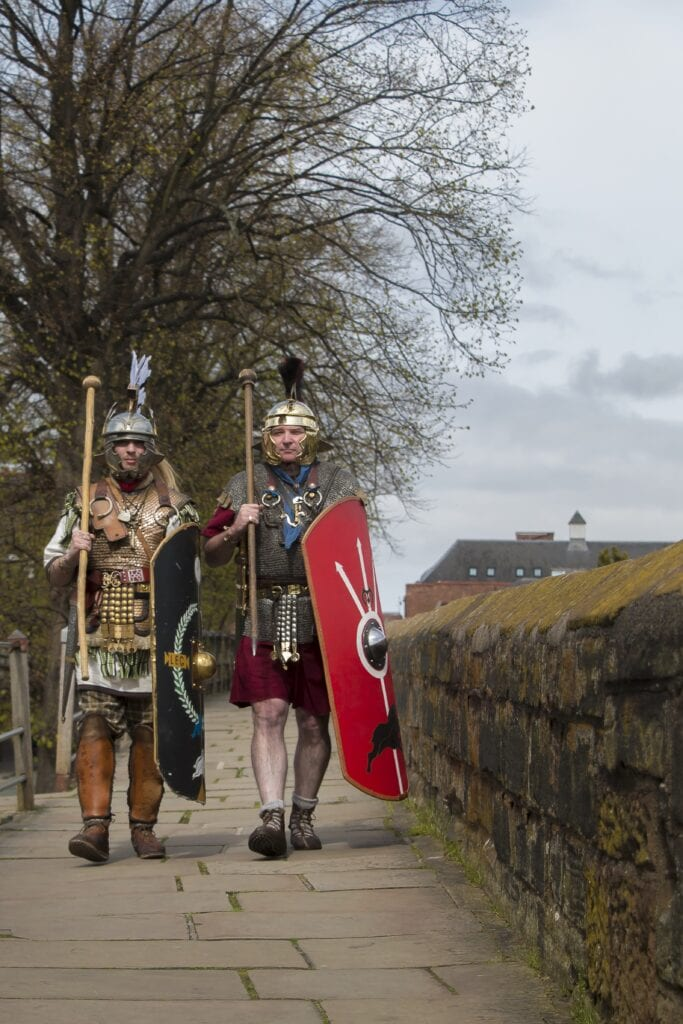 roman tours chester roman soldiers march on the city walls