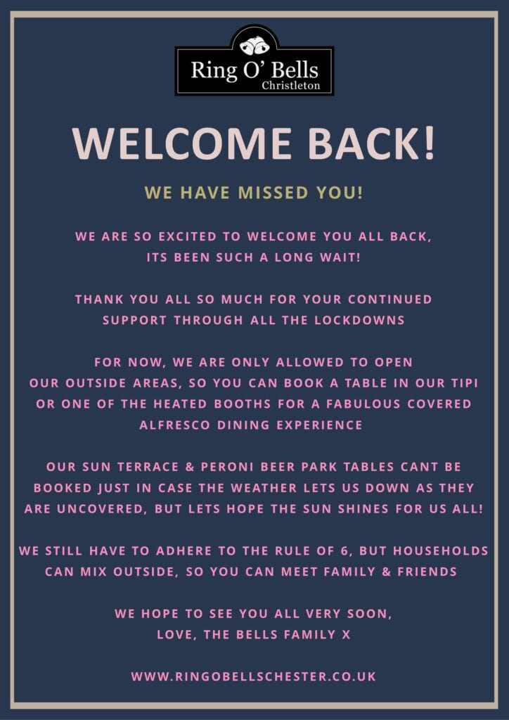 ring o bells welcome back 2021 april opening