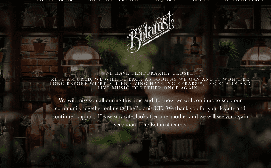 The Botanist Chester Temporarily Closed