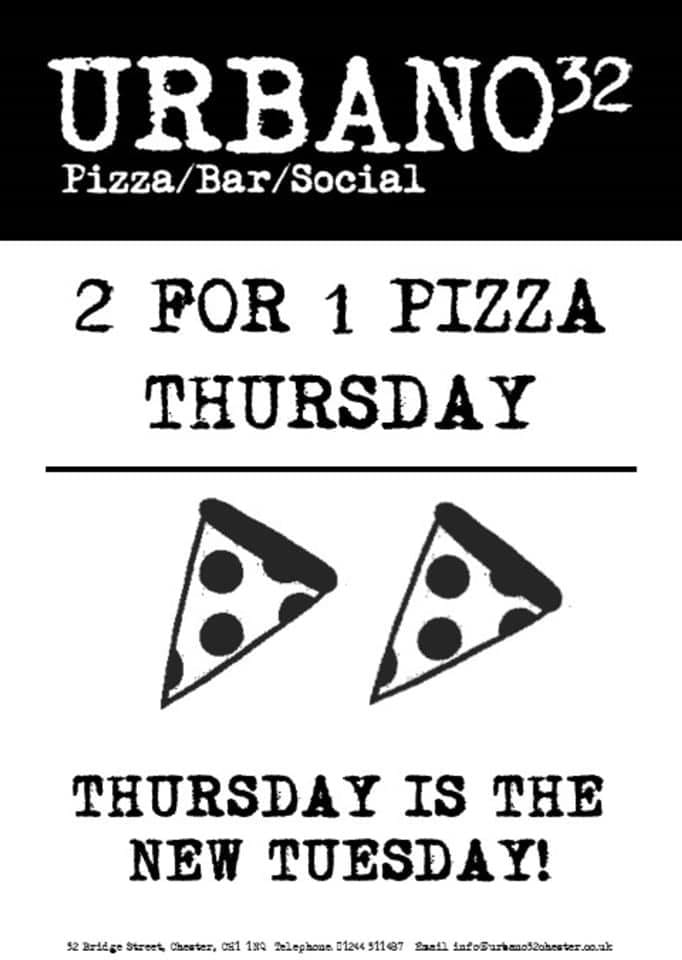 Urbano32 2 For 1 Pizza Thursday