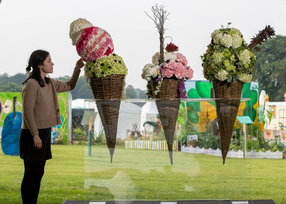 An Rhs Member Of Staff Inspects The Floral Displays In The Flower School At The Rhs Flower Show Tatton Park 2019.