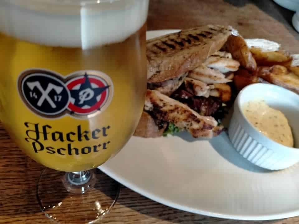 the brewery tap hackerpschorr beer chicken sandwich