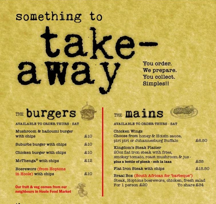 The Suburbs Take Away Menu