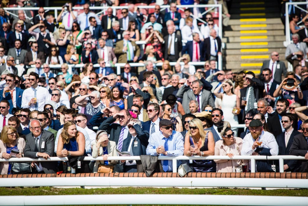 Crowds enjoying a race day at Chester Racecourse