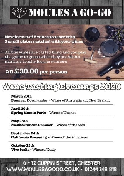 Moules a go-go bar and bistro wine tasting evenings 2020
