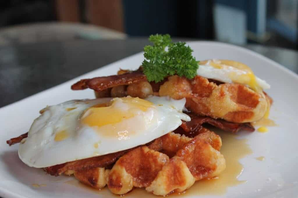 The Suburbs Brunch Bacon And Egg Waffles