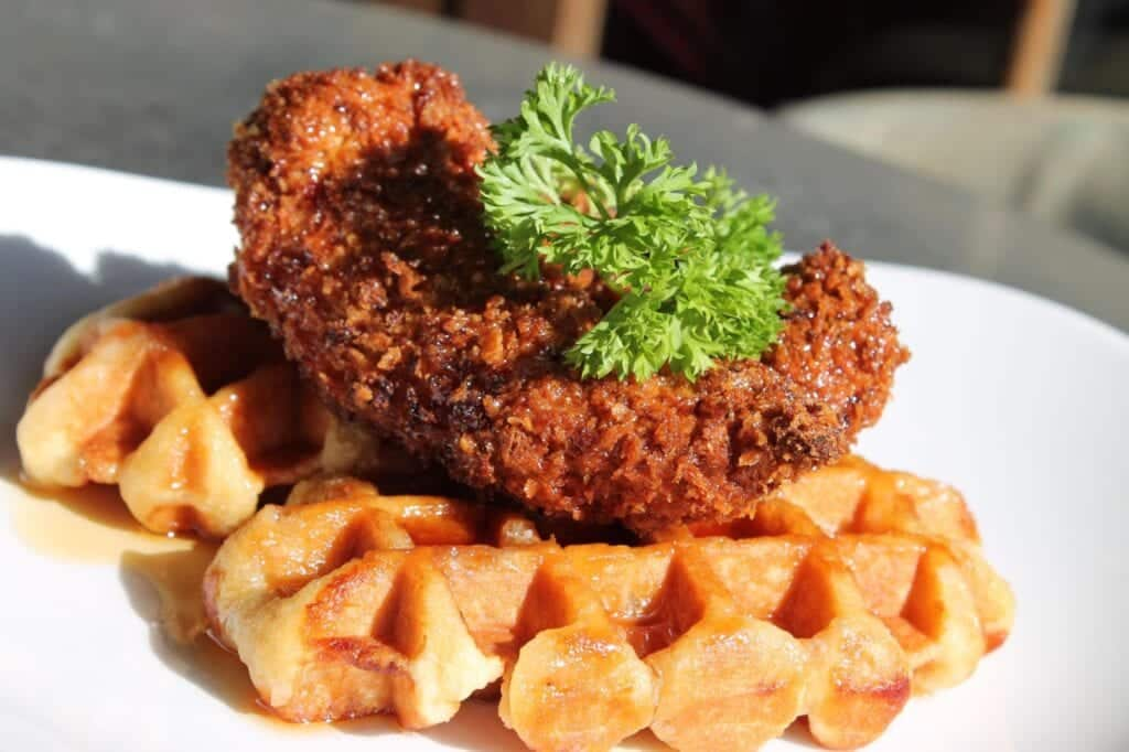 The Suburbs Brunch Southern Fried Chicken Waffles