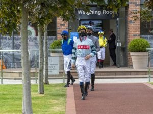 Jockeys Exit The Weighing Room At Chester