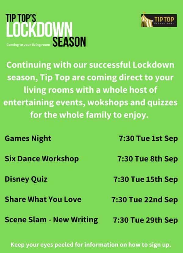 Tip Top Lockdown Social Calendar September
