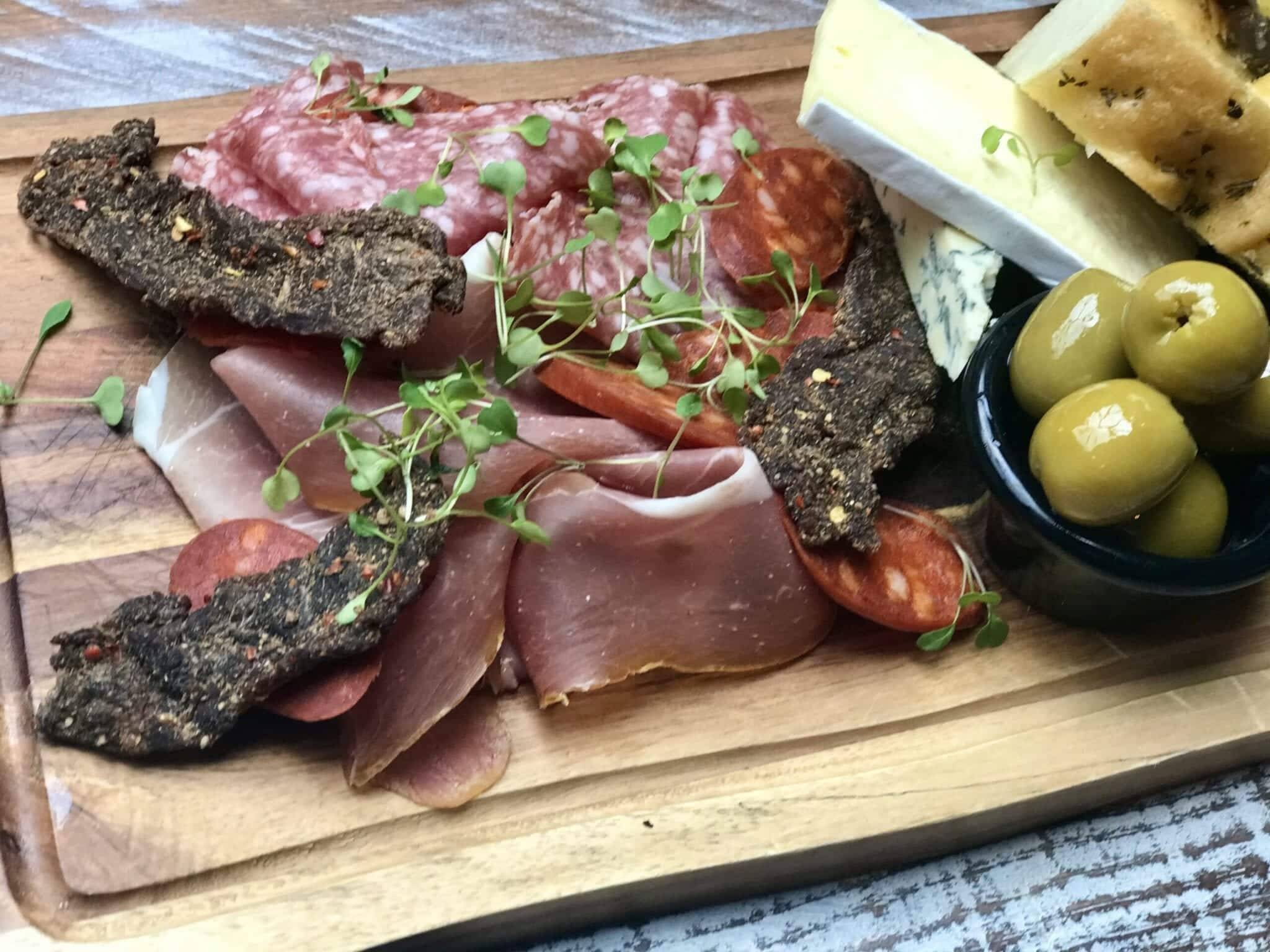 the suburbs platter meat cheese homemade foccacia biltong